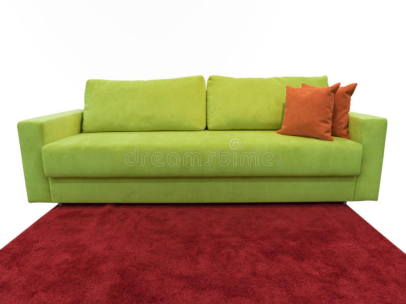 Ανοικτό πράσινο καναπές με τα μαξιλάρια στοκ εικόνες με δικαίωμα ελεύθερης χρήσης