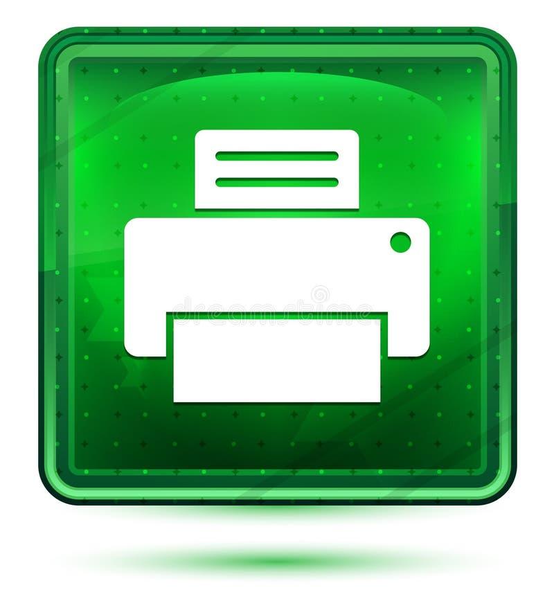 Ανοικτό πράσινο τετραγωνικό κουμπί νέου εικονιδίων εκτυπωτών απεικόνιση αποθεμάτων