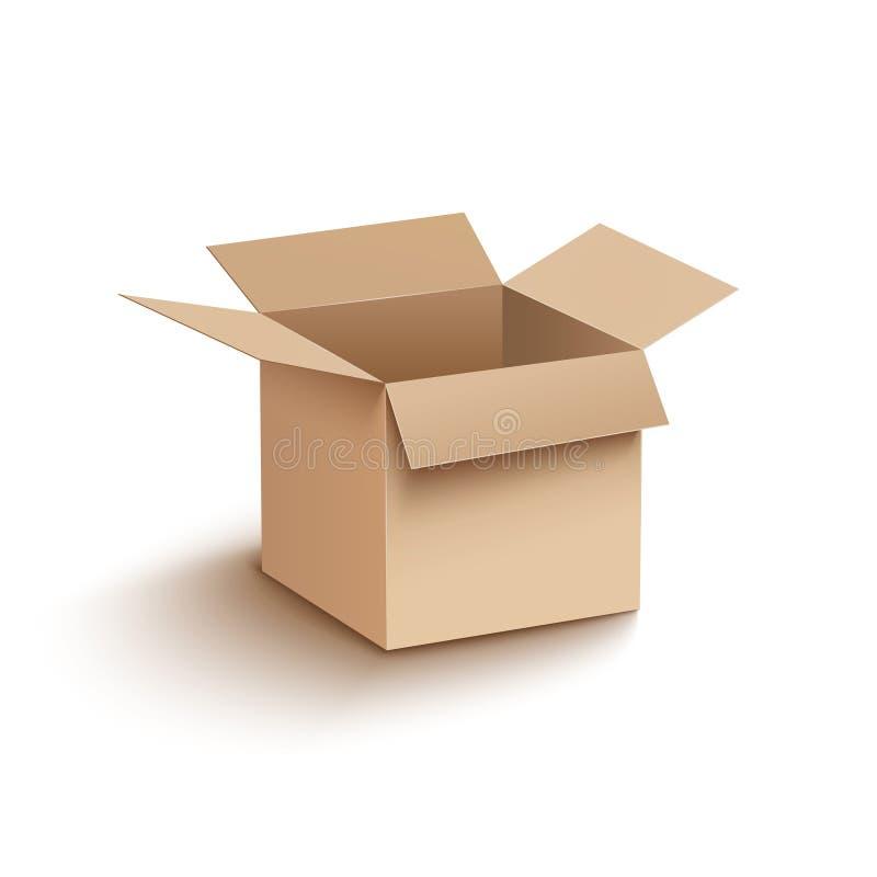 Ανοικτό πρότυπο χαρτονιού κιβωτίων Ανοικτή συσκευασία εμπορευματοκιβωτίων κουτιών από χαρτόνι χαρτοκιβωτίων για τη ναυτιλία παράδ διανυσματική απεικόνιση