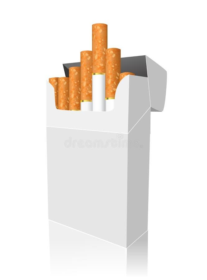 Ανοικτό πλήρες πακέτο των τσιγάρων που απομονώνονται απεικόνιση αποθεμάτων