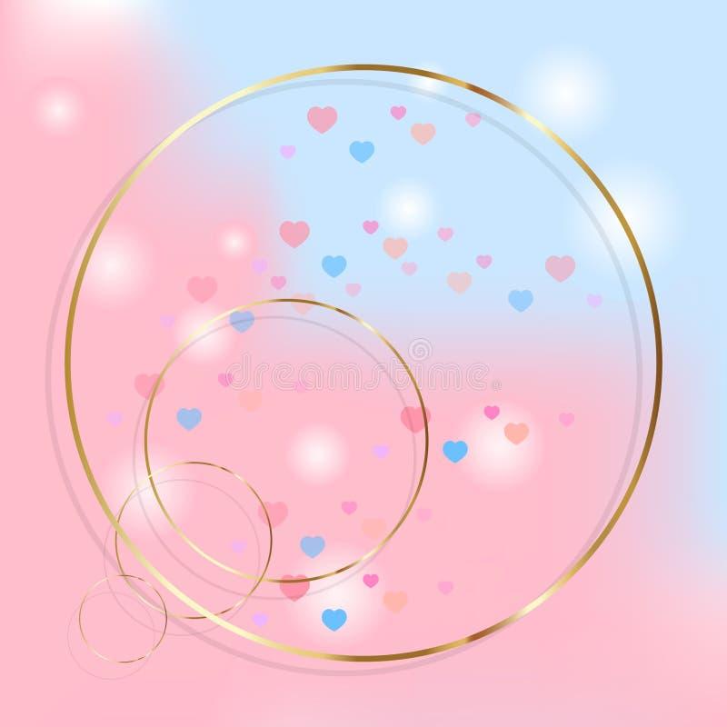 Ανοικτό ροζ και μπλε διανυσματικό υπόβαθρο με τα χρυσά δαχτυλίδια διανυσματική απεικόνιση