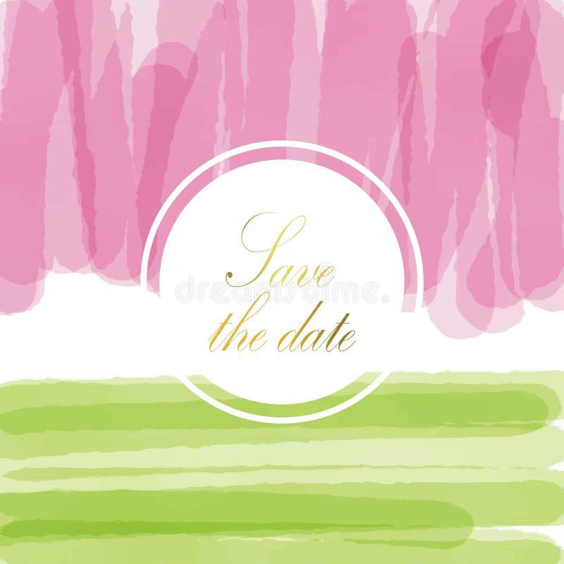 Ανοικτό ροζ πράσινο υπόβαθρο κρητιδογραφιών αγάπης την ημέρα του βαλεντίνου με και το καλοκαίρι διανυσματική απεικόνιση