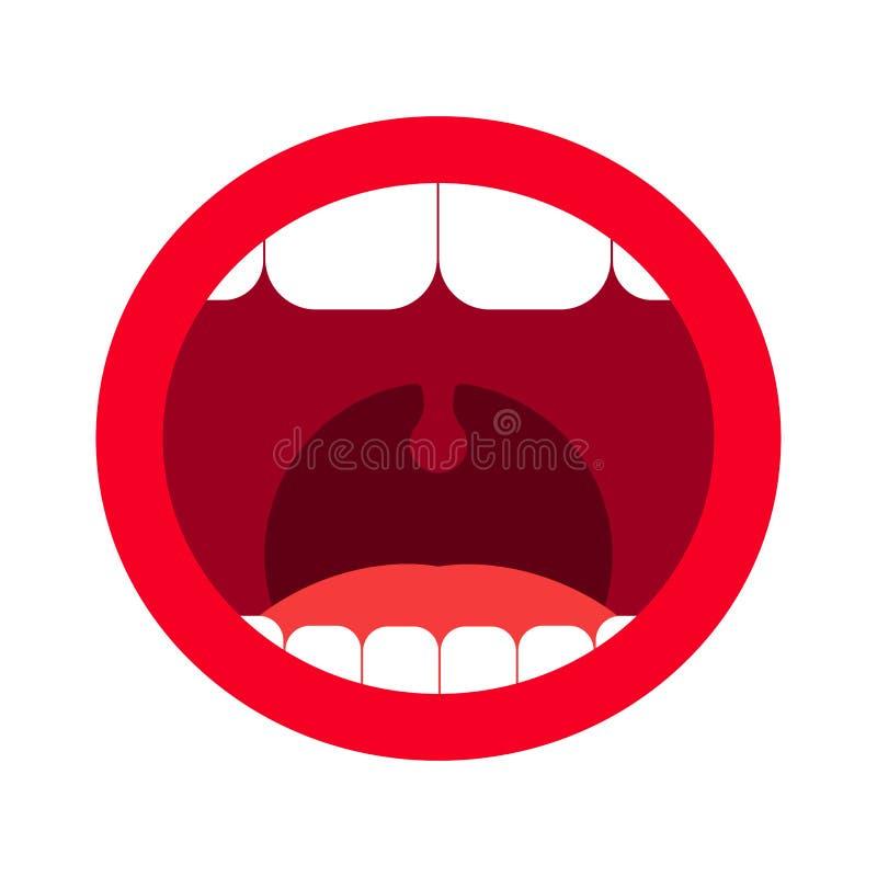 Ανοικτό στόμα με τα δόντια επίσης corel σύρετε το διάνυσμα απεικόνισης διανυσματική απεικόνιση