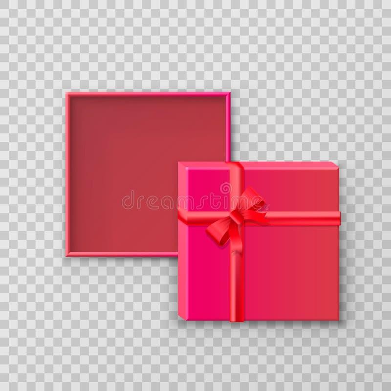 Ανοικτό τετραγωνικό κιβώτιο εγγράφου δώρων απεικόνιση αποθεμάτων