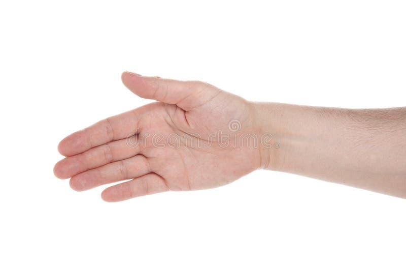 Ανοικτό χέρι που χαιρετά, έτοιμος να σφραγίσει μια διαπραγμάτευση, στοκ εικόνα με δικαίωμα ελεύθερης χρήσης