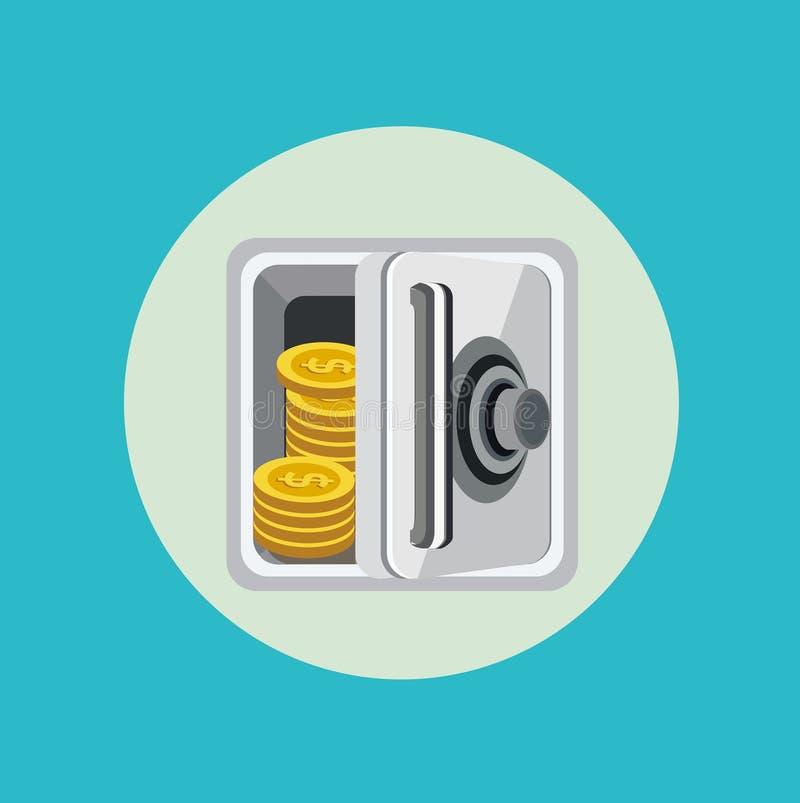 Ανοικτό χρηματοκιβώτιο μετάλλων με το χρυσό επίπεδο σχέδιο νομισμάτων ελεύθερη απεικόνιση δικαιώματος