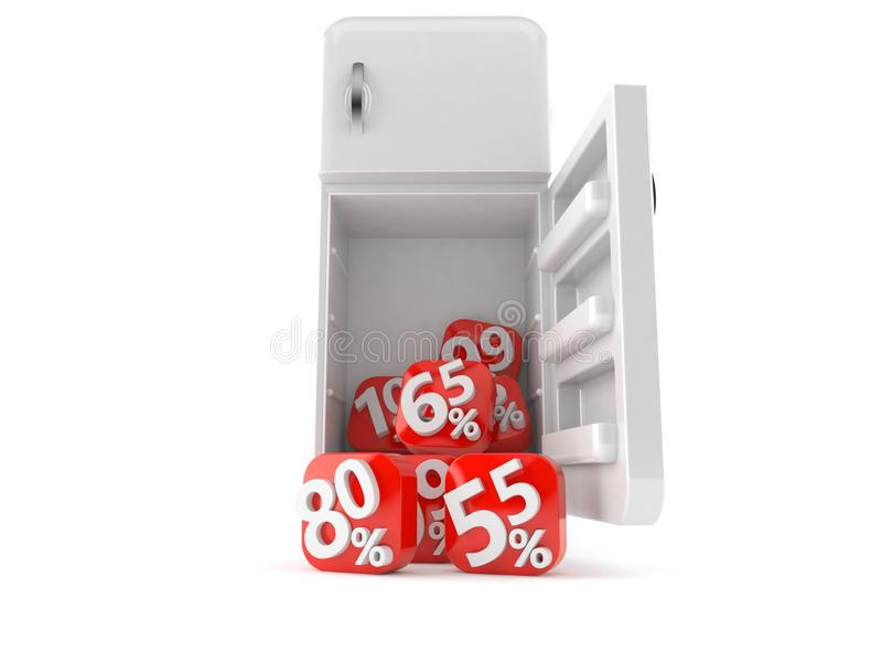 Ανοικτό ψυγείο με τους αριθμούς ποσοστού ελεύθερη απεικόνιση δικαιώματος