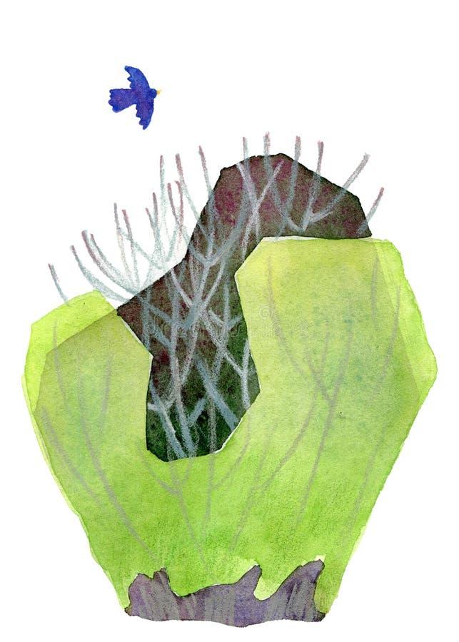 Ανοιξιάτικος θάμνος με πράσινα νέα φύλλα και μπλε πουλί ελεύθερη απεικόνιση δικαιώματος