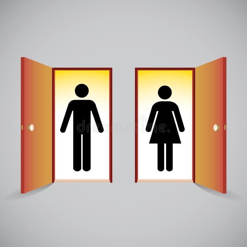 Ανοιχτές πόρτες και αριθμός ανδρών και γυναικών διανυσματική απεικόνιση