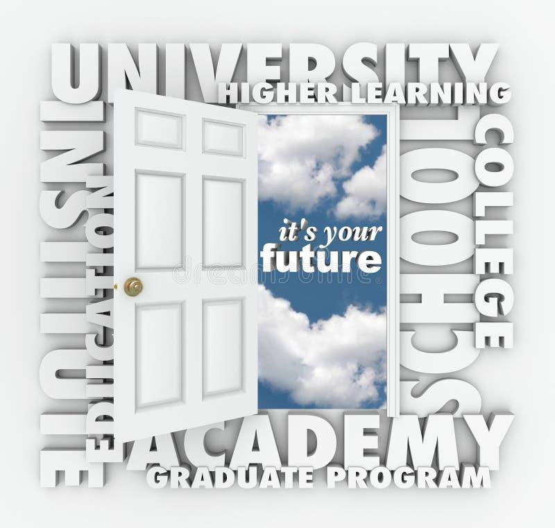 Ανοιχτή πόρτα λέξεων Πανεπιστημιακού κολεγίου στο μέλλον σας διανυσματική απεικόνιση