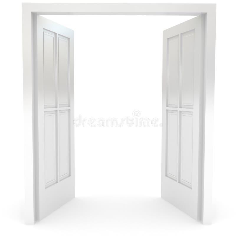 Ανοιχτή πόρτα πέρα από το λευκό απεικόνιση αποθεμάτων