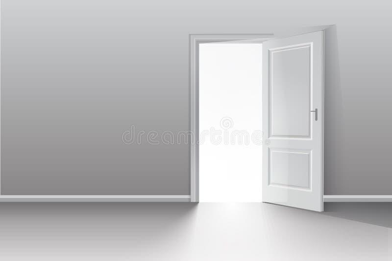 Ανοιχτή πόρτα σε ένα άσπρο δωμάτιο με το εξερχόμενο φως Χρωματική εικόνα Διανυσματική ανασκόπηση απεικόνιση αποθεμάτων