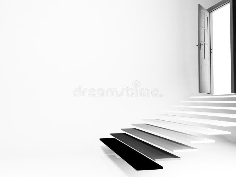 Ανοιχτή πόρτα, σκαλοπάτια, κενό δωμάτιο, ελεύθερη απεικόνιση δικαιώματος