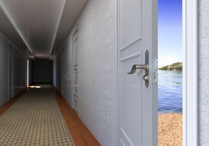 Ανοιχτή πόρτα στην έννοια διακοπών παραλιών στοκ εικόνες με δικαίωμα ελεύθερης χρήσης
