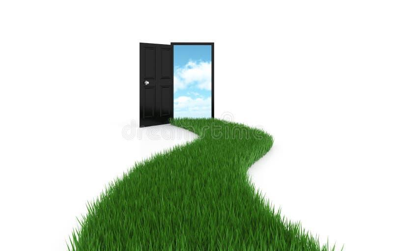 Ανοιχτή πόρτα στον ουρανό ανασκόπησης με driveway τη χλόη απεικόνιση αποθεμάτων