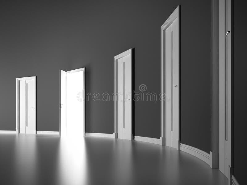 Ανοιχτή πόρτα στο γκρίζο στρογγυλό δωμάτιο. διανυσματική απεικόνιση