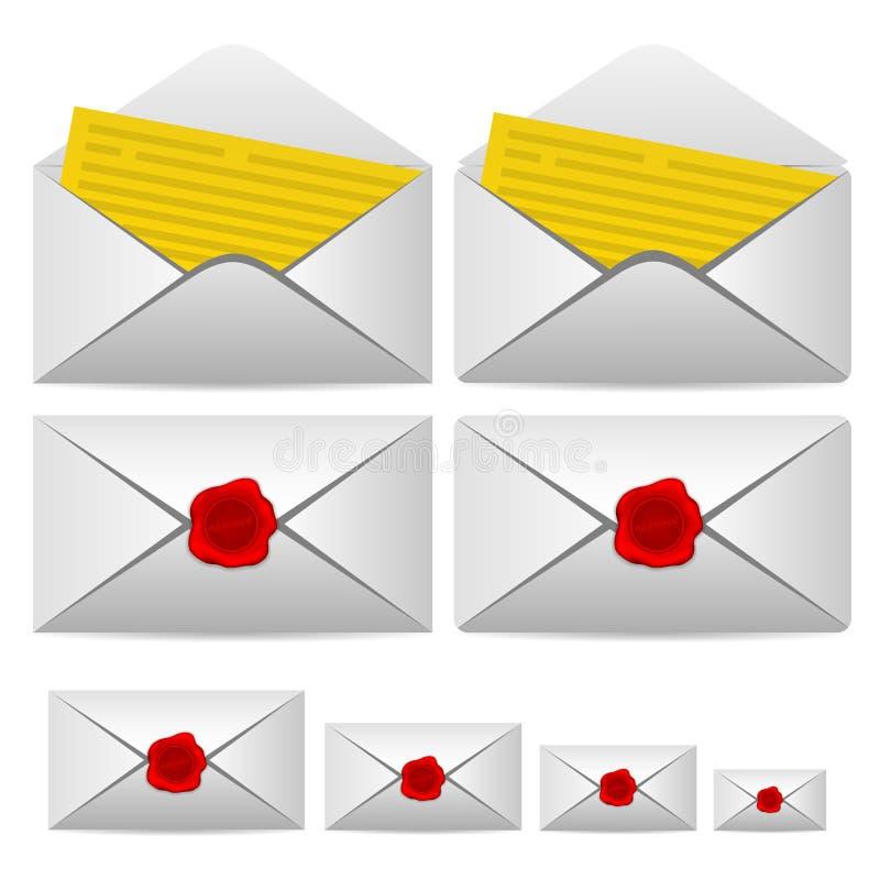 Ανοιχτό γράμμα και εσωκλειόμενος με μια σφραγίδα απεικόνιση αποθεμάτων