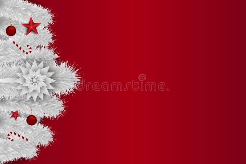 ανοιχτό μαγικό κόκκινο Χριστουγέννων ανασκόπησης με τον άσπρο κλάδο, τα παιχνίδια, τα αστέρια και την καραμέλα έλατου διάστημα αν ελεύθερη απεικόνιση δικαιώματος