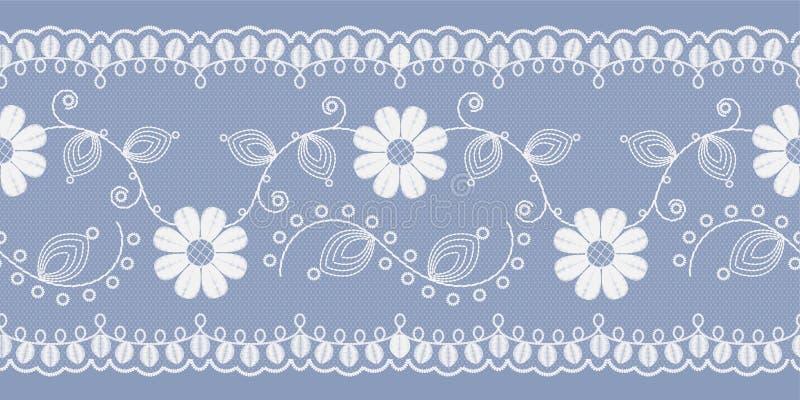 Ανοιχτό floral λευκό δαντελλών σε ένα μπλε υπόβαθρο r διανυσματική απεικόνιση