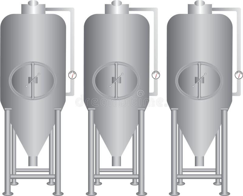 Ανοξείδωτο εξοπλισμού ζύμωσης μπύρας διανυσματική απεικόνιση