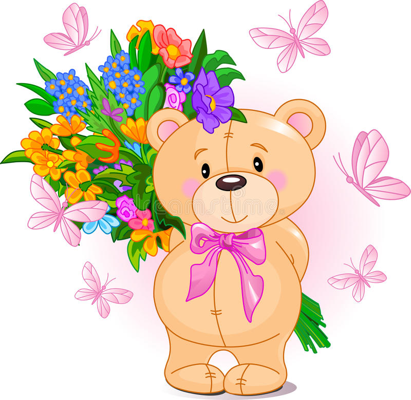 αντέξτε ρόδινο teddy διανυσματική απεικόνιση