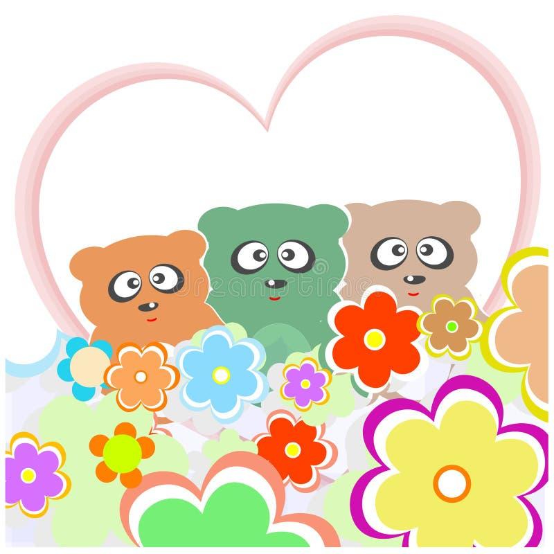 αντέξτε την αγάπη καρδιών λουλουδιών πολύ σύνολο teddy διανυσματική απεικόνιση