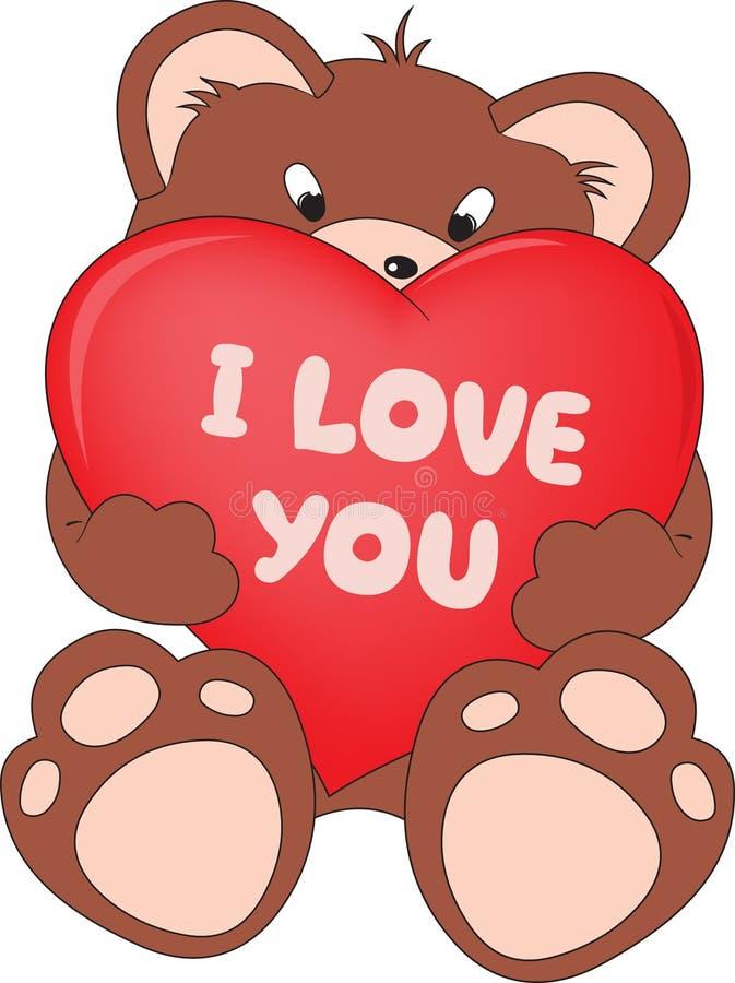 αντέξτε την καρδιά teddy διανυσματική απεικόνιση