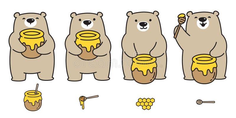 Αντέξτε τη διανυσματική απεικόνιση χαρακτήρα κινουμένων σχεδίων μελισσών μελιού λογότυπων εικονιδίων πολικών αρκουδών doodle ελεύθερη απεικόνιση δικαιώματος