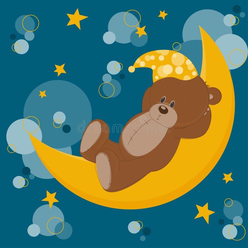 αντέξτε τον ύπνο καρτών teddy διανυσματική απεικόνιση