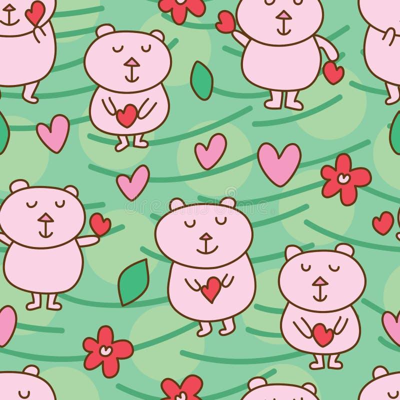 Αντέξτε το άνευ ραφής σχέδιο αγάπης αρκούδων ελεύθερη απεικόνιση δικαιώματος