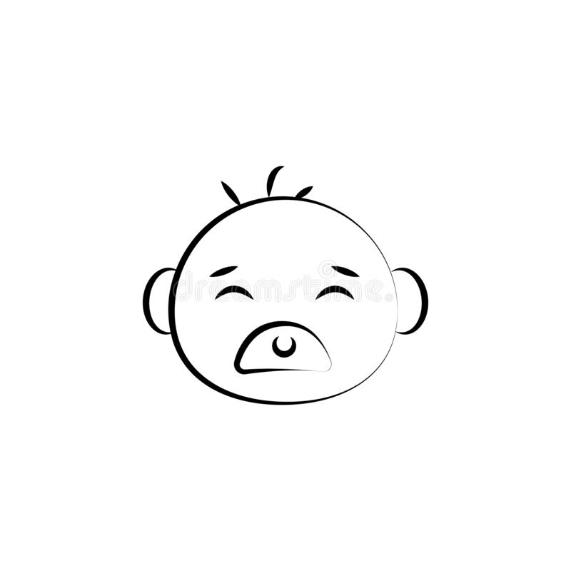 αντέξτε το εικονίδιο γραμμών έννοιας τέχνης προσώπου μωρών Απλή απεικόνιση στοιχείων αντέξτε το σχέδιο συμβόλων περιλήψεων έννοια διανυσματική απεικόνιση