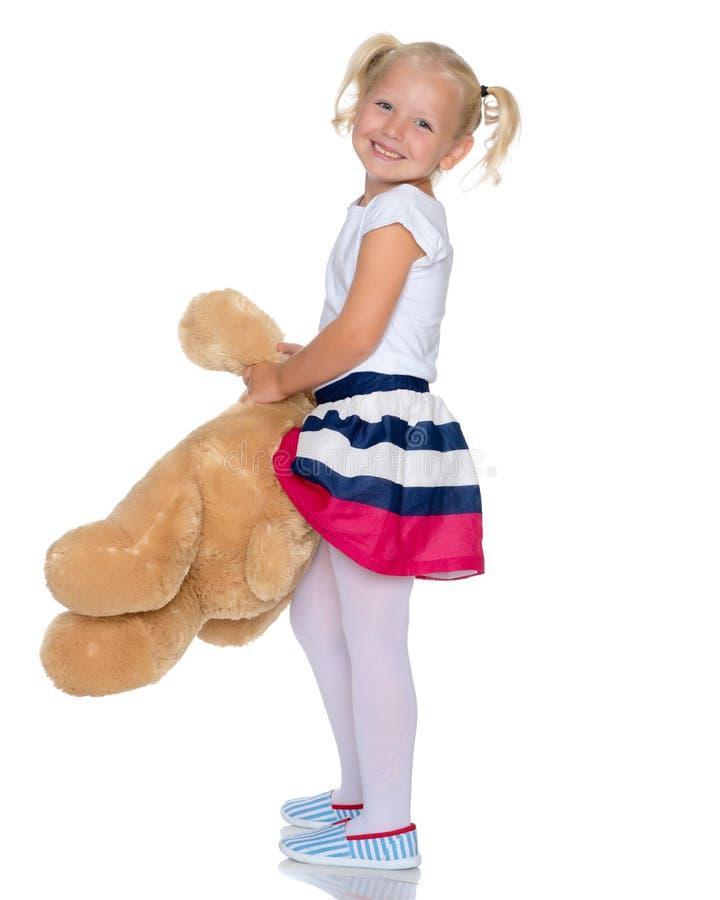 αντέξτε το κορίτσι λίγα teddy στοκ εικόνες