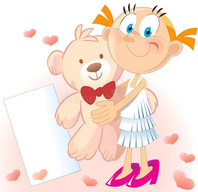 αντέξτε το κορίτσι teddy διανυσματική απεικόνιση