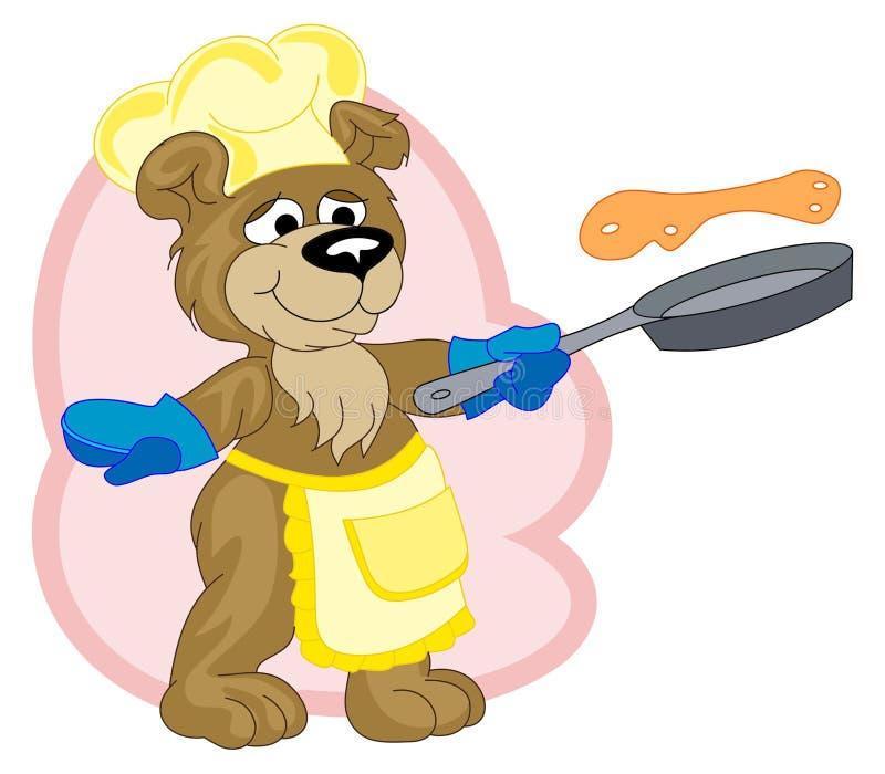 αντέξτε το μάγειρα που τηγανίζει τις αστείες τηγανίτες διανυσματική απεικόνιση