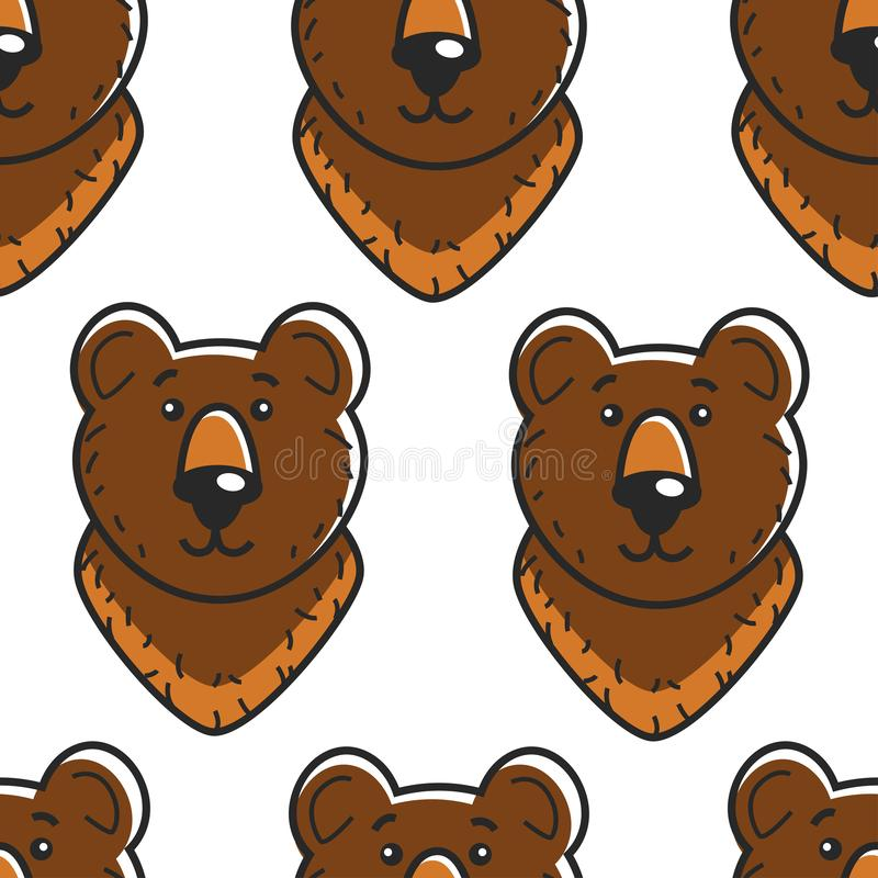 Αντέξτε το ρωσικό δασικό ζώο σχεδίων συμβόλων άνευ ραφής διανυσματική απεικόνιση