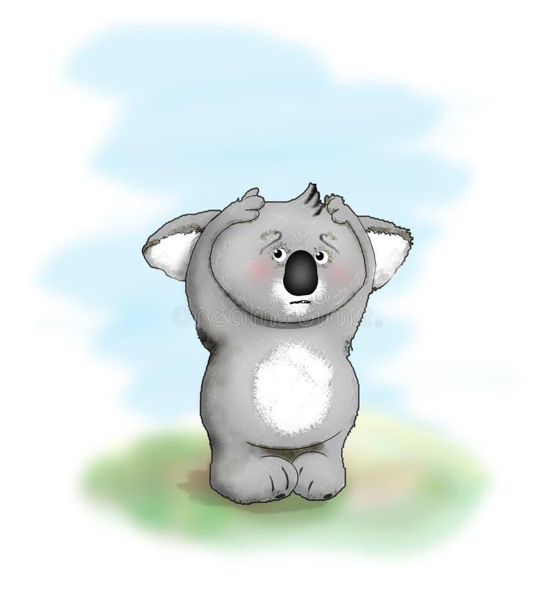 αντέξτε το koala που φοβάται διανυσματική απεικόνιση