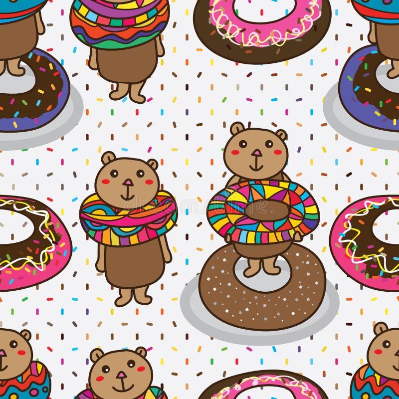 Αντέξτε doughnut το χαριτωμένο άνευ ραφής σχέδιο ζάχαρης ελεύθερη απεικόνιση δικαιώματος