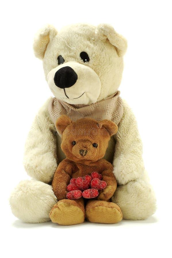 αντέχει τις καρδιές teddy δύο στοκ εικόνα με δικαίωμα ελεύθερης χρήσης
