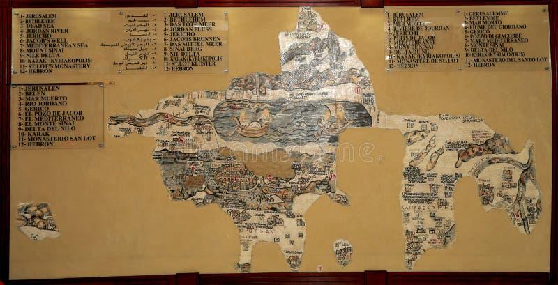 Αντίγραφο μωσαϊκών του παλαιού χάρτη Madaba των Άγιων Τόπων, Ιορδανία στοκ φωτογραφία