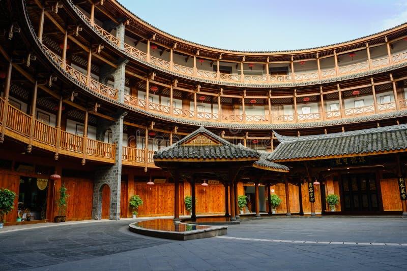 Αντίγραφο Fujian Tulou, κυκλικό χωμάτινο κτήριο κατοικιών, μέσα στοκ εικόνα με δικαίωμα ελεύθερης χρήσης