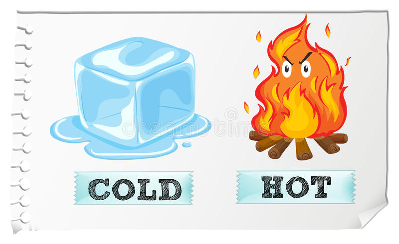 Αντίθετα επίθετα με κρύος και καυτός απεικόνιση αποθεμάτων