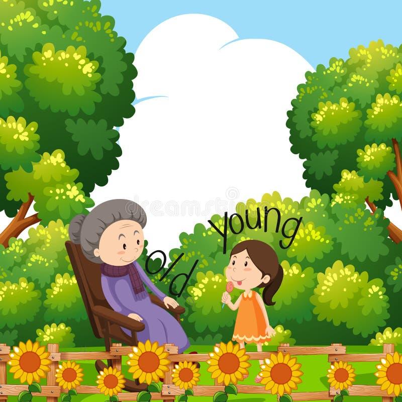 Αντίθετες λέξεις για παλαιός και νέος με τη γιαγιά και το παιδί διανυσματική απεικόνιση