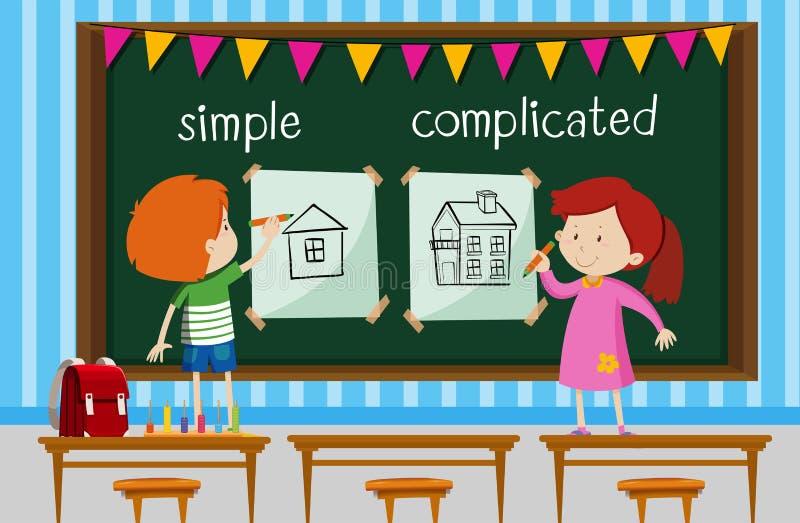 Αντίθετη λέξη με τα παιδιά που σύρουν τα απλά και περίπλοκα σπίτια ελεύθερη απεικόνιση δικαιώματος
