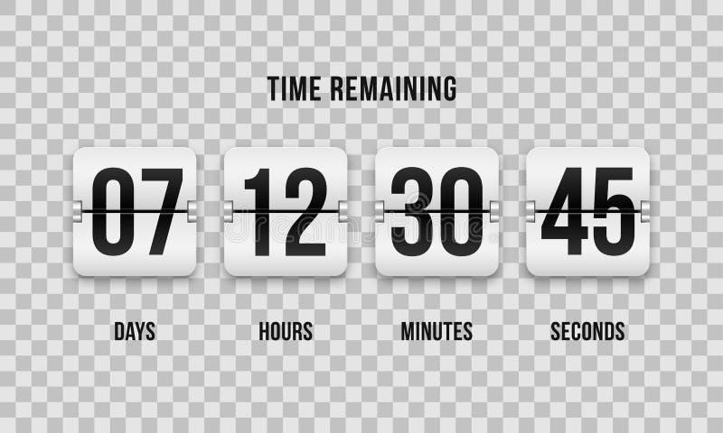 Αντίθετο διανυσματικό ψηφιακό χρονόμετρο κτυπήματος ρολογιών αντίστροφης μέτρησης διανυσματική απεικόνιση