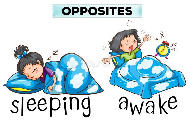Αντίθετο wordcard με τον ύπνο λέξης και άγρυπνος απεικόνιση αποθεμάτων