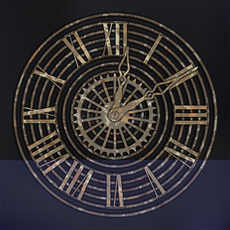 Αντίκα, ρολόγια Steampunk με τα εργαλεία σκουριάς στο καφετί, σκουριασμένο υπόβαθρο ελεύθερη απεικόνιση δικαιώματος
