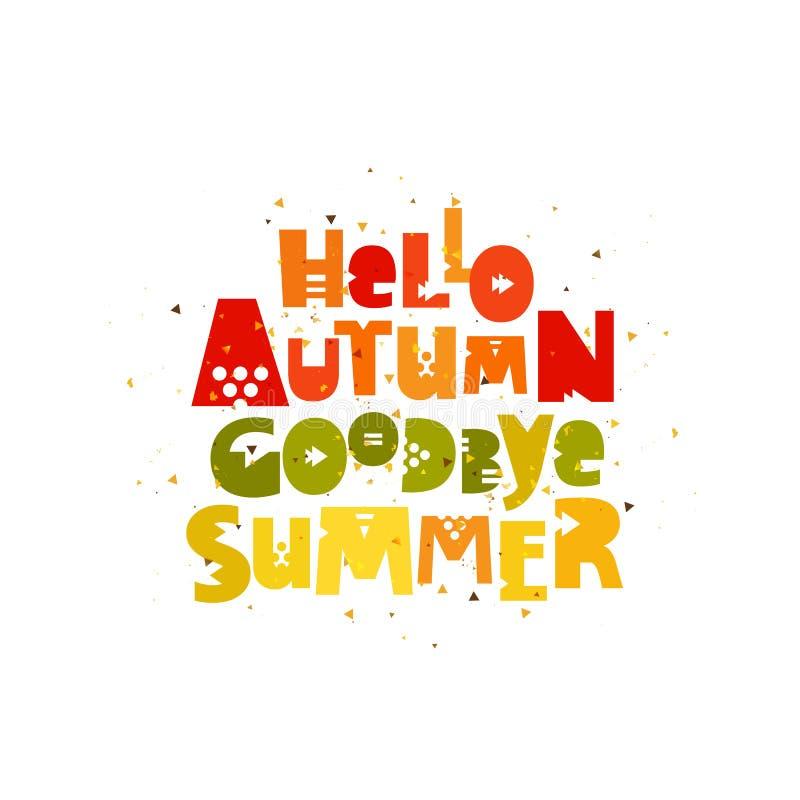 αντίο καλοκαίρι Γειά σου, φθινόπωρο απεικόνιση αποθεμάτων