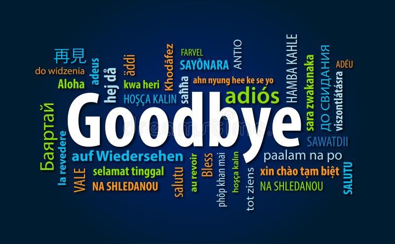 Αντίο σύννεφο του Word διανυσματική απεικόνιση