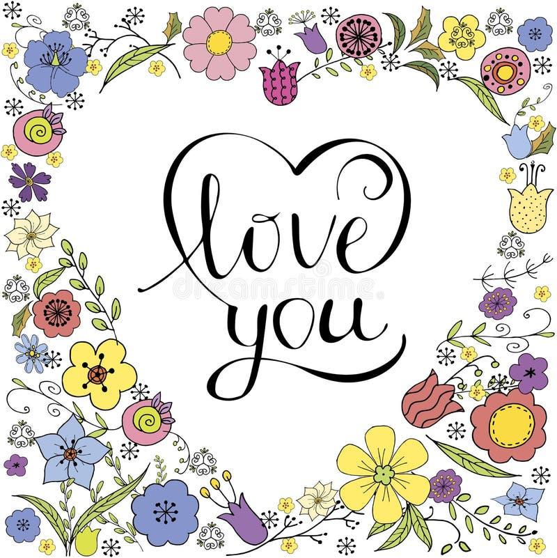 Αντίστροφη καρδιά Doodle με τα ζωηρόχρωμα λουλούδια και η επιγραφή στο διάνυσμα στο άσπρο υπόβαθρο διανυσματική απεικόνιση