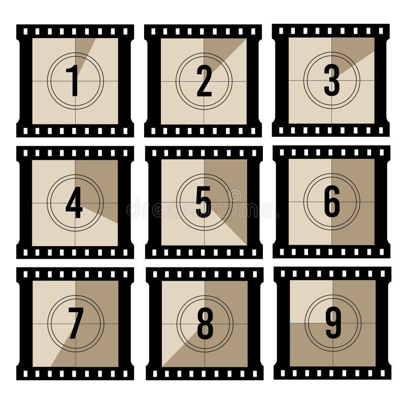 Αντίστροφη μέτρηση κινηματογράφων Παλαιός μετρητής χρονομέτρων ταινιών προβολέων Διανυσματικά εκλεκτής ποιότητας πλαίσια filmstri διανυσματική απεικόνιση